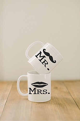 Ceramic mugs, Set of 2 Mr. & Mrs. mustache and lips, couple, wedding gift, newlywed, engagement, wedding shower, house warming