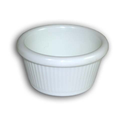 Clipper 4 oz. Melamine Ramekin; Textured- Fluted; Black Color; Set of 48; Stackable; Dishwasher and Microwave Safe; Perfect For Serving Condiments