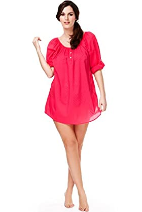 Plus Pure Cotton Roll Up Sleeve Cover-Up Kaftan