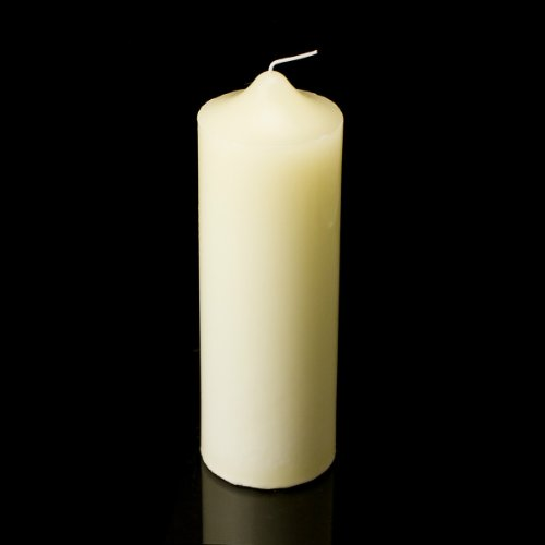 Hanna's 3-by-9-Inch Pillar Unscented Candle, Ivory