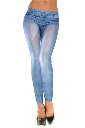 New Stylish Denim Look Ripped Faux Jean Blue Leggings Tights Pants (FG9063)