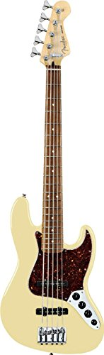 Fender Active Jazz Electric Bass Guitar V (Five String), Rosewood Fretboard, 4-Ply Brown Shell Pickguard - Vintage White