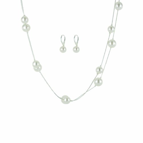 Simulated Pearl Illusion Cream Chain Earrings and Necklace Set, 36