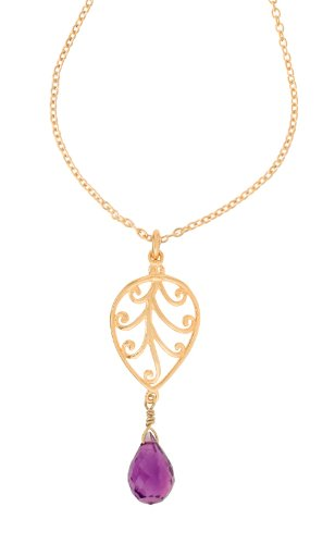 Dower & Hall, Isis - 18ct Gold Vermeil Openwork Amethyst Briolette Drop Pendant on Trace Chain of 41cm