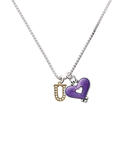 Gold Tone Small Crystal Initial - U - Hot Purple Heart Necklace