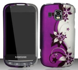 Samsung Transform Ultra M930 (Boost/Sprint) Purple/Silver Vines Design Snap On Hard Case Protector + Car Charger + Free Neck Strap + Free Wrist Band (Samsung Transform Ultra compare prices)