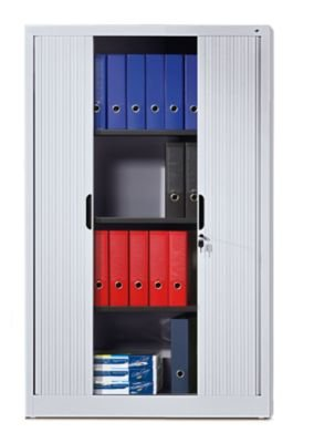 CP Armoire à rideaux à lames verticales - h x l x p 1980 x 800 x 420 mm, 4 tablettes, 5 hauteurs classeurs aluminium - armoire armoire de bureau armoire pour bureau armoire à rideaux armoires armoires de bureau armoires pour bureau ar