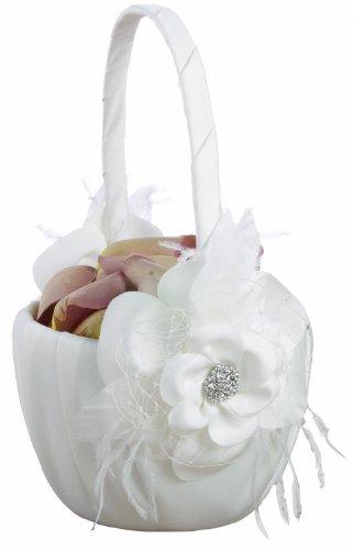 Ivy Lane Wedding Designs Somerset Collection Flower Girl Basket, White
