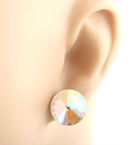 Ladies Silver with Clear AB .5 Inch Round Prism Style Stud Earrings