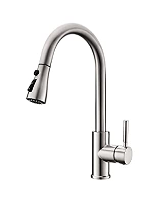 WEWE Single Handle Dual Mode with Pause Fuction Pull Down Sprayer Kitchen Faucet,Brush Nickel