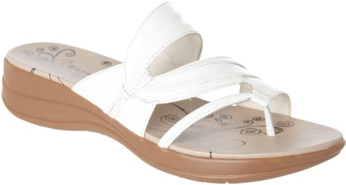 Baretraps Jump Out Womens Size 8 White Leather Thongs Sandals Shoes