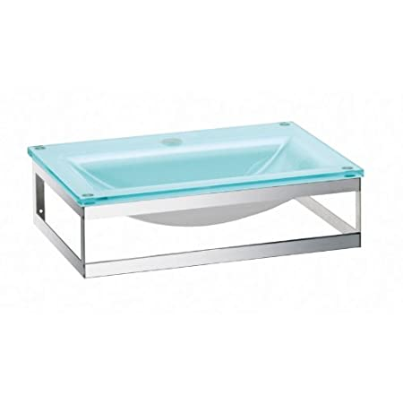 Pocia green ice glass washbasin with waste and bottletrap