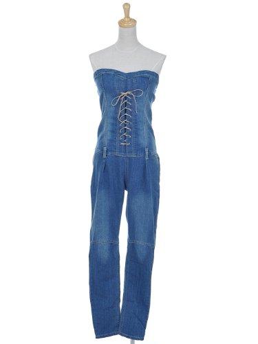 Anna-Kaci S/M Fit Darker Washed Blue Denim Lace