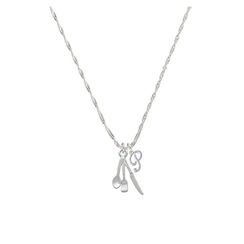 Fork Knife And Spoon Mini Gelato Initial - P - Grace Necklace