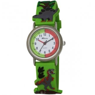Ravel New Eye-Catching Dinosaur 3D Kids Quartz Watch with White Dial Analogue Display and Multicolour PU Strap R1513.59