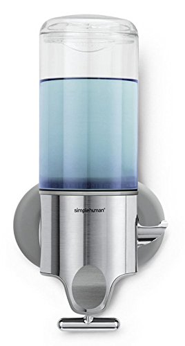 simplehuman Wall Mount Pumps, Single 15 fl. oz. Shampoo & Soap Dispenser, Stainless Steel (Wall Mount Pump Soap Dispenser compare prices)