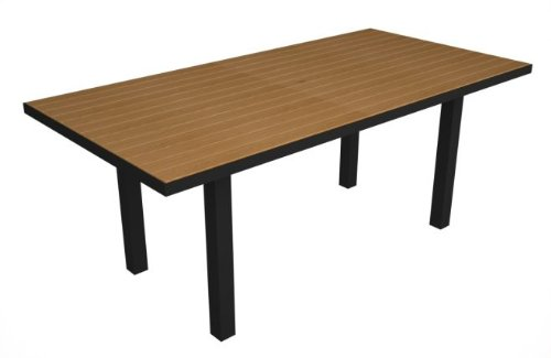 Recycled Earth-Friendly European Rectangle Dining Table - Teak with Black Frame