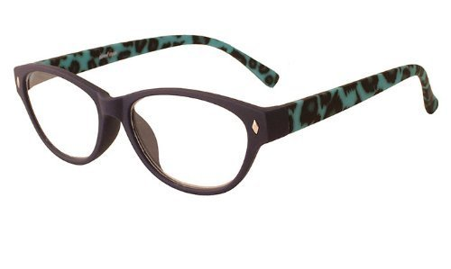 About Eyes G233 Abbie Strength Plus 1 Dark Purple Rubber Frame with Black/ Blue Temples Reading Glasses by About Eyes
