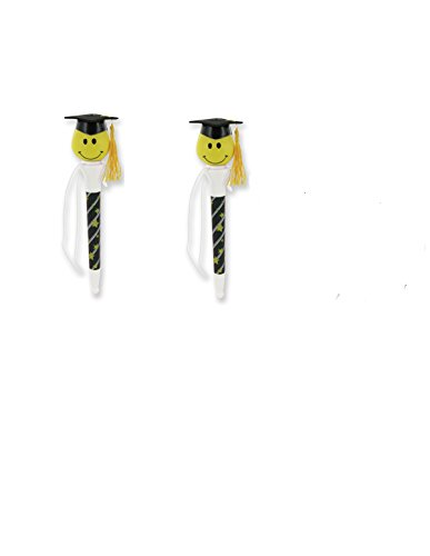(6) Graduation Smiley Face Pop up Ball point Pens ~ Six Grad Party Favors Pen Poppers ~ Happy Face Giveaway ~ Momentus Celebrate Occasion ~ Hats Off to the Grad ~ New Gift (Popper Pens compare prices)