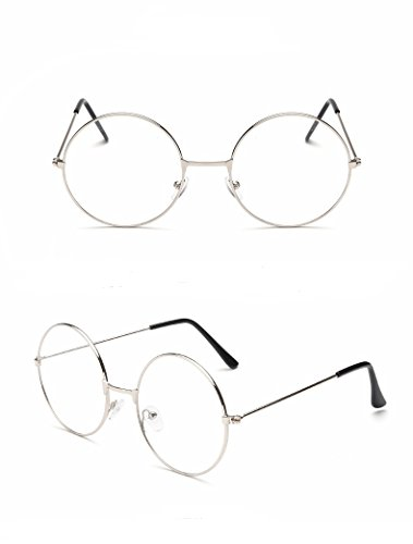TRIXES Occhiali in metallo tondi unisex, argento e nero stile retro, Beatles, anni sessanta