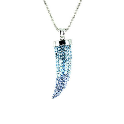 Blue on Silver Plated Small Bling Claw Tusk Horn Necklace