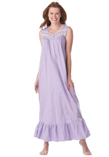 Dreams And Company Plus Size Sleeveless Long Woven Night Gown (Lavender,6X)