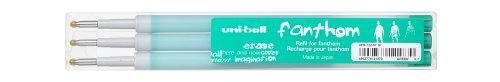 UNI-BALL Lot de 3 Recharges Fanthom effaçable UFR122/07 Pte Moy. 0,7mm Vert