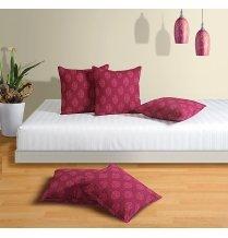 Swayam Drape And Dream Cotton 5 Piece Cushion Cover Set - Magenta (CC125-3008)