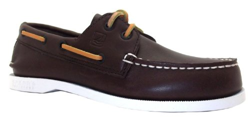 Boy's A O Sperry Dark Brown Lace Up Boat Leather Shoes