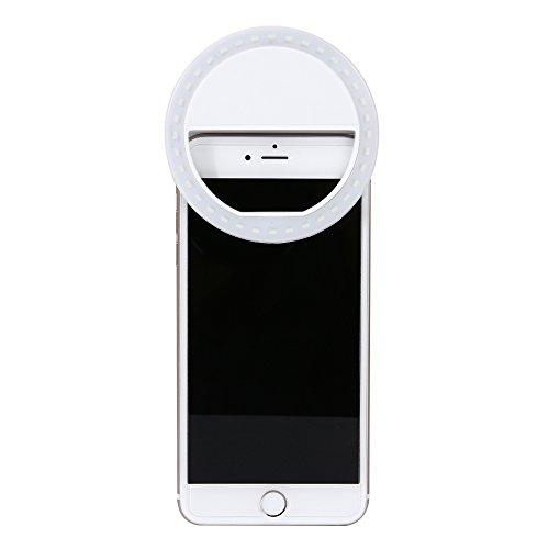 Mindkoo Bianco Selfie Luce Anello Flash Macro Ring Light Portatile LED Esterno Supplementare di Illuminazione Notturna con 3 Livelli di Luminosità per iPhone Samsung HTC Nokia iPad LG Motorola e Altri Smartphone