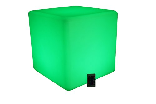 "17"" Illuminating Seating Cube - End Table - Ottoman - Led Rgb Lights 16 Color Changing Furniture With Remote Control - Cordless, Waterproof, Rechargeable - Glow Light Up Modern Green Furniture - For Indoor/Outdoor Use - Eco Safe Green Product"