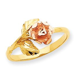 Genuine IceCarats Designer Jewelry Gift 14K Two-Tone Diamond-Cut Rose Ring Size 6.00