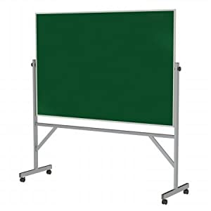 Ghent 4' x 6' Aluminum Frame Mobile Reversible Free Standing Double-Sided Chalkboard - Green