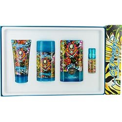 Ed Hardy Hearts & Daggers By Christian Audigier Edt Spray 3.4 Oz & Deodorant Stick Alcohol Free 2.75 Oz & Hair And Body Wash 3 Oz & Edt Spray .25 Oz Mini & Luggage Tag (Package Of 3)