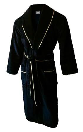 John Christian peignoir en velours à col châle de qualité supérieure - 100% Coton - Homme - Noir avec PassePoil Or (M)