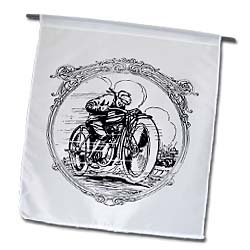 Black and White Motorcycle - 12 X 18 Inch Garden Flag