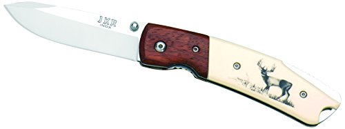 Joker Knife Wood Bolster White Handle with Deer, Wood/White, 7.48-Inch