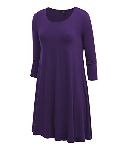 LL WDR930 Womens Round Neck 3/4 Sleeves Trapeze Dress with Pockets XXL PURPLE