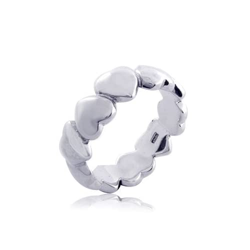 10.00 grams 925 Sterling Silver Heart Symbol Band Ring