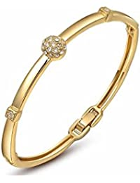 Kaizer Jewelry Charm 14k Gold Plated Swarovski Elements Bangles & Bracelets For Women & Girls Valentine Gift Collection - B01MSELVRW