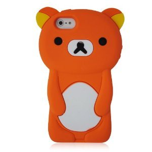 Iphone 5 3D Teddy Bear Silicon Case Cover - Orange
