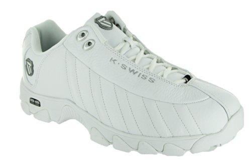 K-Swiss Men's ST329 Lace-Up Sneaker,White/Black/Silver,10.5 XW US