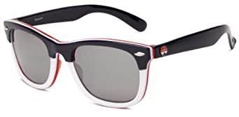 I SKI Palisades Sunglasses,Blue,White & Red Frame/Smoke & Silver Lens,One Size