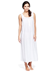 Per Una Pure Cotton Jacquard Spotted Long Nightdress