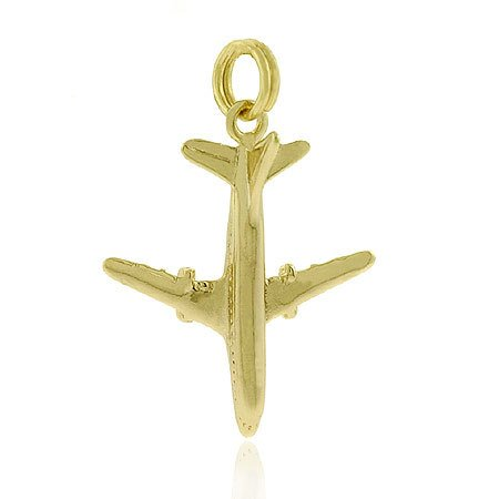 Vermeil (24k Gold over Sterling Silver) Toy Airplane Fly Charm/ Pendant