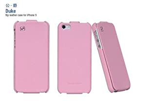 Genuine HOCO Duke Royal Series REAL Leather Flip Case Cover for Apple iPhone 5 - PINK