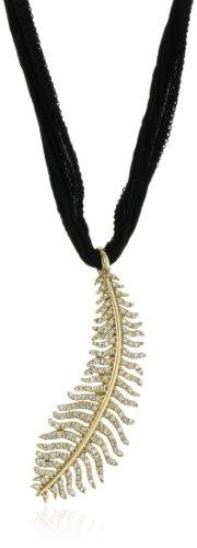 Mizuki 14k Gold and Diamond Quill Charm on Black Silk Necklace