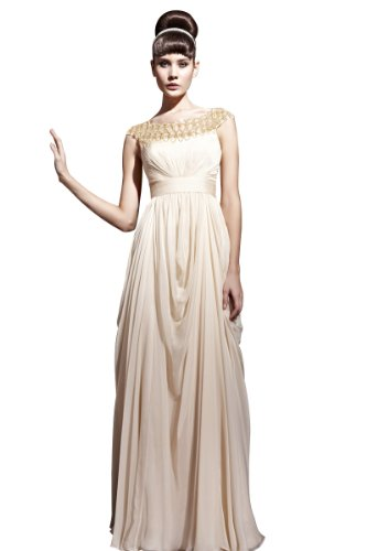 CharliesBridal Beige Bateau Neck Floor Length Formal Dress - L - Beige