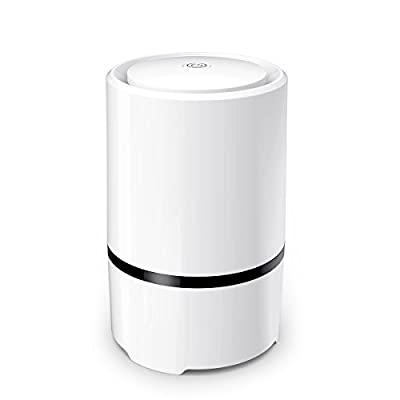 WSTA Desktop Air Purifier, Air Ionizer ,Portable Air Purifier, True HEPA Air Cleaner Remove Cigarette Smoke,Dust,Pollen and Bad Odors with 5V USB Cable(White)