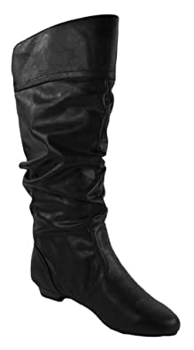 Basal! By Soda Slouchy Knee-high Flat Boots, black leatherette, 5.5 M